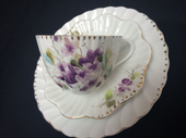 Continental tea trio handpainted violets